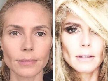Heidi Klum, antes y después del maquillaje